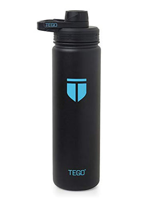TEGO - Rapid Water Bottle - Vaccum Sealed Steel with Cleaning Brush - Black Blue