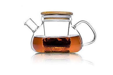 Te.Cha Glass Teapot Kettle with Glass Infuser and Bamboo Lid, 100% Microwave-Safe Borosilicate Glass Tea Pot, Clear (800 ML)