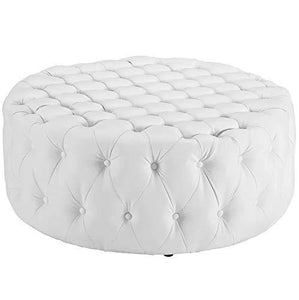 LAKDI-The Furniture Co. Amour Cocktail Round Ottoman/Pouffe (White) - Home Decor Lo