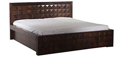 JS Home Decor Sheesham Wood Queen Size Bed with Storage Box for Bedroom | Dark Brown Finish