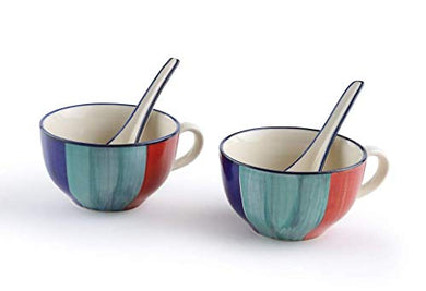 HS HINDUSTANI SAUDAGAR Hand Painted Ceramic Soup Bowls Set of 2 with Spoon- for Home/Kitchen/Dinning/Serving Bowls/Gift Items