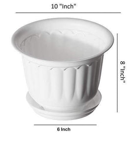 Gardens Need Jasmine Pot with Bottom Tray Set (10-inch, White, 3-Pieces) - Home Decor Lo