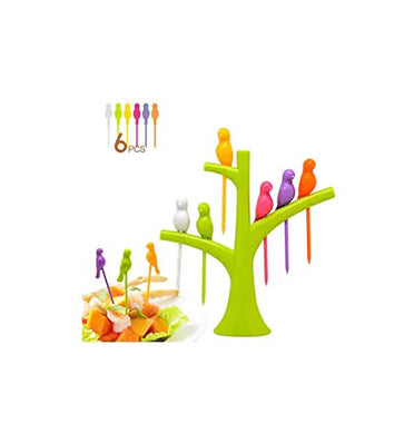 Kitchen4u Designer Bird Fruit Plastic Fork, 7-Piece, Colour May Vary Colour