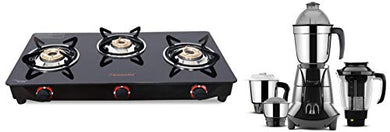 Butterfly Smart Glass 3 Burner Gas Stove, Black + Butterfly Jet Elite 750-Watt Mixer Grinder with 4 Jars (Grey)