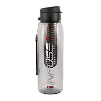 Cello Infuse Plastic Water Bottle, 800 ml, Black