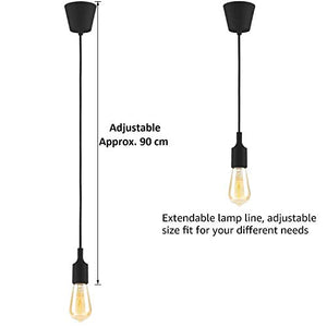 JNS 4w Vintage LED Filament Bulb ST64 with Rope (Holder Ceiling lamp), Light Warm White(Yellow), 80W Incandescent Equivalent, E27 Base lamp, Decorative Bulb, Pack of 8