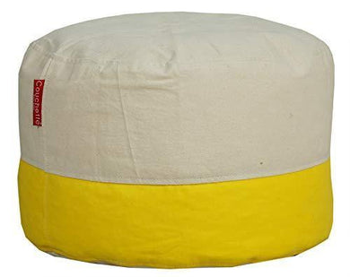 Couchette Ottoman Pouffe Organic Cotton Cover Without Beans (Without fillers) (Standard, Yellow) - Home Decor Lo