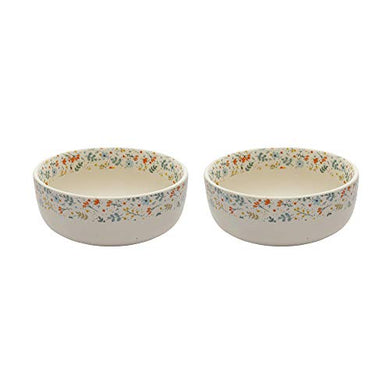 Miah Decor Stoneware Md-263 Handcrafted Spring Serving Bowls, Set of 2, Multicolor-Color