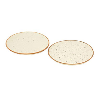 Freakway Handmade & Handcrafted Ceramic Stoneware Cream White Plate(10 inch Diameter) Set of 2