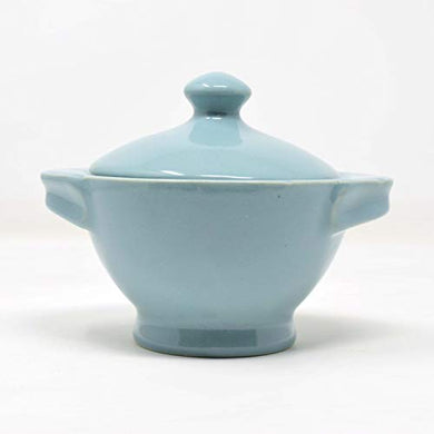The Himalayan Goods Company Natural Stoneware Ceramic Pot or Casserole or Donga or Handi with Handles 300 ml (Sea Green)
