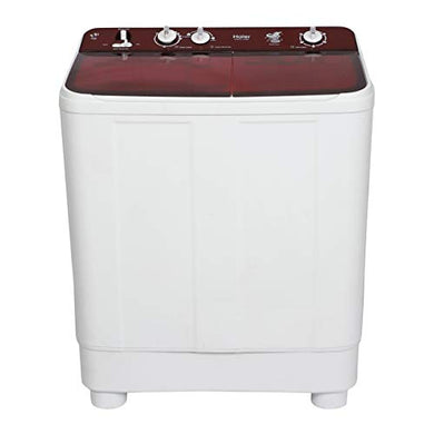 Haier 7.6 kg Semi-Automatic Top Loading Washing Machine (HTW76-1159BT, Red)