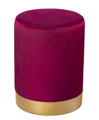 Velvet Ottomans Stool With Gold Shiny Finish & Iron Pouffes - Home Decor Lo