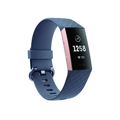 Fitbit Charge 3 Fitness Activity Tracker (Rose Gold and Blue Grey) with Offer on Accessory