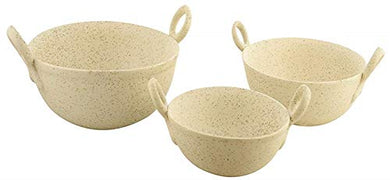 WOODENCLAVE Ceramic Kadhai Style Dinner or Lunch Serving CASSEROLE (Beige) -Set of 3
