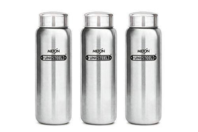 Milton Aqua 1000 Stainless Steel Fridge Water Bottle 930 ml Set of 3, Silver