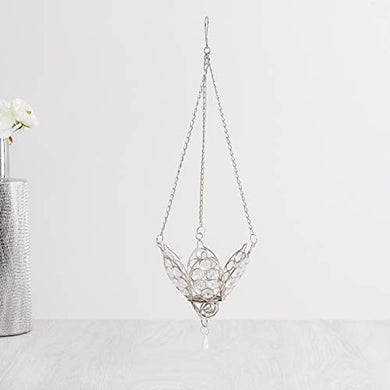 Home Centre Redolance Hanging Stone Embellished Floral T-Light Holder - Silver