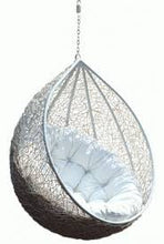 Load image into Gallery viewer, Wicker Rattan Egg Chair Swing with Stand: White - Home Decor Lo