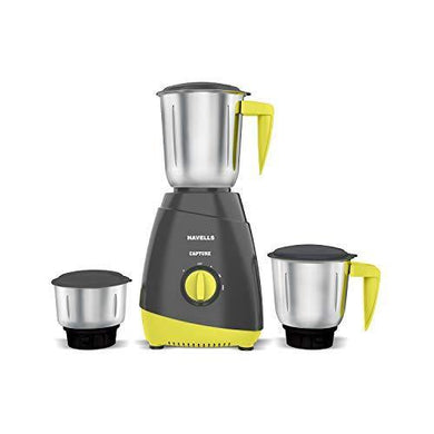 Havells CAPTURE 500 Watt Mixer Grinder with 3 Stainless Steel Jar (Grey & Green) with 5 year Motor warranty