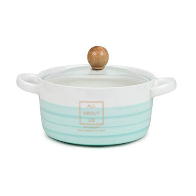 CupShup Evergreen Ceramic Casserole, Set of 1, 850 ml, Blue