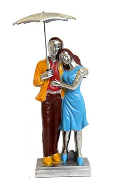 Tingoking Designer Multi Romantic Valentine Love Couple Statue with Umbrella Showpiece Gifts