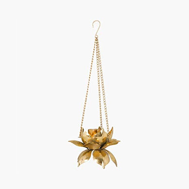 Home Centre Redolence Neptune Lotus Hanging Light Holder - Gold