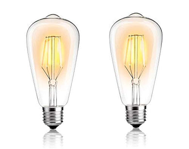 Vrct Edison LED Bulb, 4W Vintage LED Filament Light Bulb, 3000k Warm White White, 80W Incandescent Equivalent, E26/27 Medium Base Lamp for Restaurant,Home,Reading Room,Office, 2-Pack