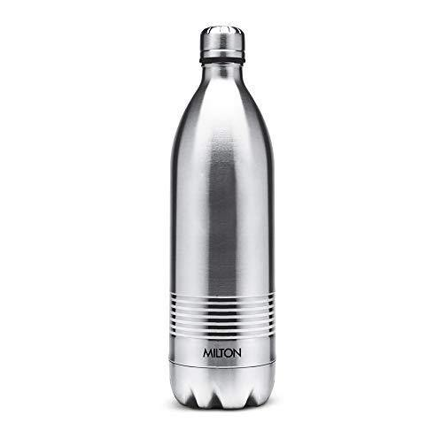 Milton Duo DLX 1000 Thermosteel 24 Hours Hot and Cold Water Bottle, 1 Litre, Silver