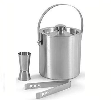King International Stainless Steel Bar Set, Bartender Kit Set of 3 Piece| Silver| Bar Tool Set with Ice Bucket, Peg Measure, Ice Tong -Complete Bar Tool Set for Home bar Accessories - Home Decor Lo