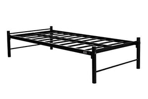 FurnitureKraft Osaka Single Size Metal Bed (Glossy Finish, Black) - Home Decor Lo