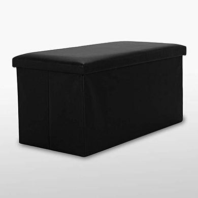 Faux Leather & Cotton Fabric Folding Cuboid Toy Pouffe Stool - Home Decor Lo