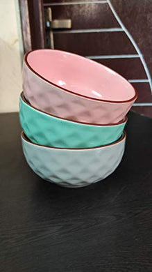 Separate Way Ceramic Soup/Dessert Bowl 400 Ml, 5.3 Inch Diameter Comes with Pink,Green,Light Gray Set of 3
