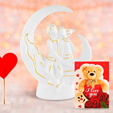 Archies Valentines Day Gift Pack of 2-1 Polyresin Love Showpiece + 1 Greeting Card - Love Gifts for Girlfriend, Boyfriend, Birthday, Husband, Wife, Love, Couples