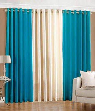 Shree Ram Decor Modern Polyester Crush Long Door Curtain 9ft- Set of 3 (2 Aqua, 1 Cream) - Home Decor Lo