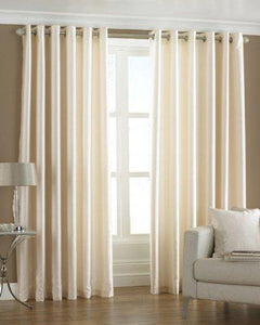 PINDIA 2 Piece Combo Faux Silk Eyelet Polyester Plain Ringtop Door Window Curtain (7 ft, Off-White) - Home Decor Lo