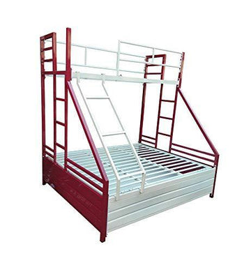 S K Grill Art Metal Bunk Bed with Storage (White & Maroon, 4 x 6 Lower & 2.5 x 6 top)