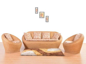 Cane 5-Seater Sofa Set with Cushions: Brown - Home Decor Lo