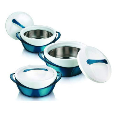 Pinnacle Panache Matte Casseroles Set of 3 (600ml + 1200ml + 2500ml) Stainless Steel 304 Inner Body to Keep Food Hot (Teal)