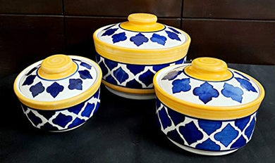 LOTUM Pure Ceramic Blue & Yellow Serving Bowls /Donga Bowls/Casserole Set with Unique Lids for Home Kitchen, Dining Table Serving Ware Storage Containers (Set of 3)/Handmade in India