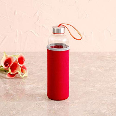 Home Centre Favola-Cyprus Water Bottle with Pouch - 600ml - Red