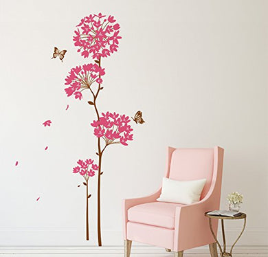 Decals Design 5700050 StickersKart Wall Stickers Flowers Pink Dandelion Large Size Vinyl Wall Decal for Home Wall Covering Area: 95cm x 160cm(Multicolor)