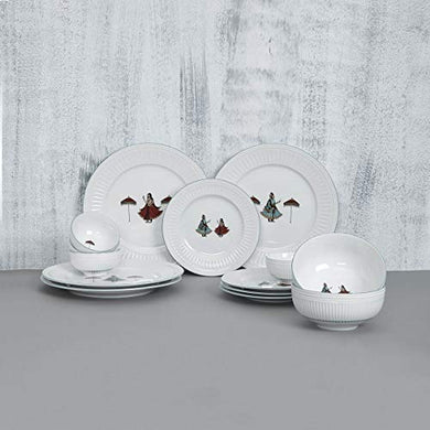 Home Centre Altius-Regal Printed Bone China Crockery Set- 4 Dinner Plates + 4 Side Plates + 4 Katori+ 2 Serving Bowl - White
