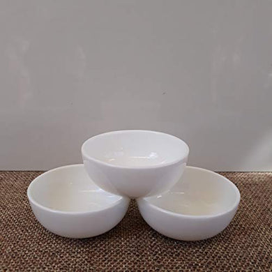 Mirakii Set of 6, Fine Bone China Dip Sauce and Chutney Bowls in White Color