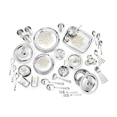 Classic Essentials Glory Stainless Steel Dinner Set, 61-Pieces, Silver