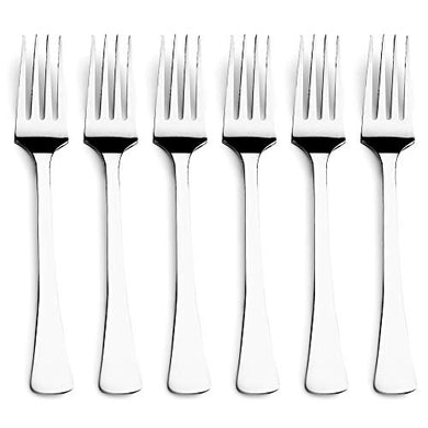 Steren Impex | Stainless Steel 6 Piece Dinner Fork Set | Square - Cutlery Fork | Premium Quality Flatware Set | Pack of 6