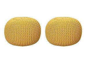 "Nestroots Pouf Puffy for Living Room Sitting Round Ottoman Bean Filled Stool for Foot Rest Home Furniture Rope Twisted Bean Bag Design (14"" inch Height Yellow Set of 2) - Home Decor Lo"