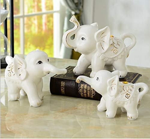 Hello Dream Set of 3 Small (13cm/11cm/8cm) Cute Elephant Family Home Decorative Ornaments (3Pcs) Bone China Material - Home Decor Lo