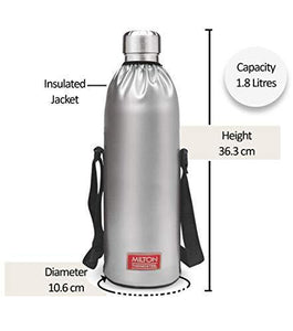 Milton Thermosteel Duo DLX 1800 Stainless Steel Water Bottle, 1.8 Liters, Silver