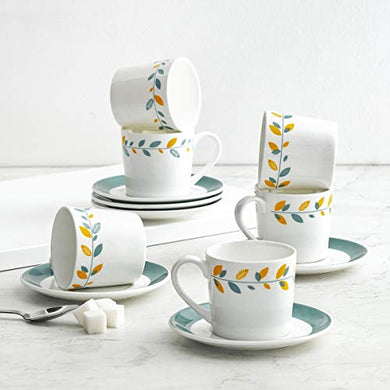 Home Centre Mandarin-Malhar 12-Pc. Printed Cup and Saucer Set
