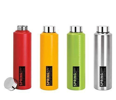 SPRINGWAY - Brand of Happiness Eco-Neer Stainless Steel Water Bottle, 1000ml (Red, Yellow, Green and Steel) - Set of 4
