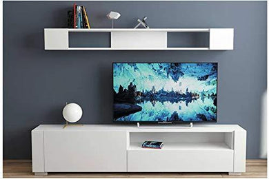 HEERA MOTI CORPORATION Interiors Wooden Laminated TV Stand and One Wall Shelf Set, 71 X 17 X 12-Inch, White